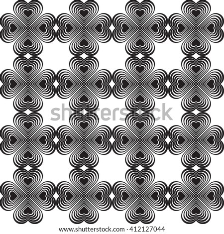 Seamless geometric pattern with stylized hearts. Repeating vintage texture. Abstract white and black background.Monochrome backdrop. Celtic element. Four-leaf clover shaped knots. - stock photo