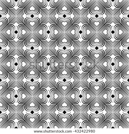 Seamless geometric pattern with stylized hearts. Repeating vintage texture. Abstract white and black background. Retro backdrop. Celtic element. Four-leaf clover shaped knots.  - stock photo