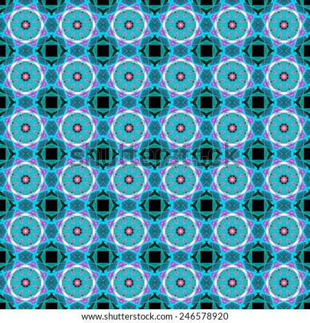 Seamless geometric patterns. Optical illusion. Kaleidoscope. Abstract art. Science background. Black, green, blue, cyan, pink colors.