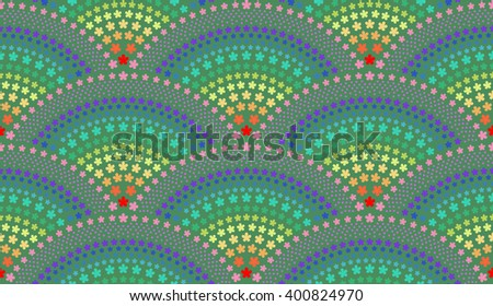 Seamless geometrical background with fish scale layout fan shaped ornate elements, with flower patterns - rasterized version - stock photo