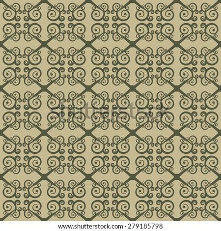 Seamless geometrical ornament with swirls. Stylization of Greek and Oriental patterns.  Rasterized version. - stock photo