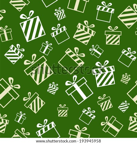 Seamless Gift Pattern on green background