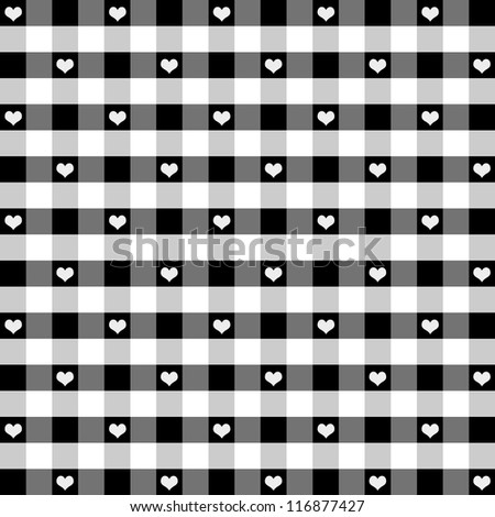 Seamless Gingham check pattern with hearts in black and white for scrapbooks, albums, decorating.