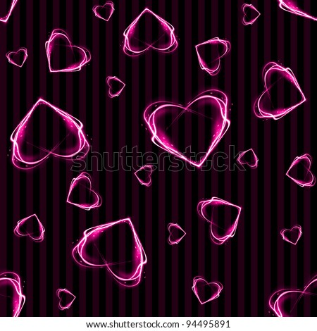Seamless Glowing Pink Hearts on Stripes Background Wallpaper