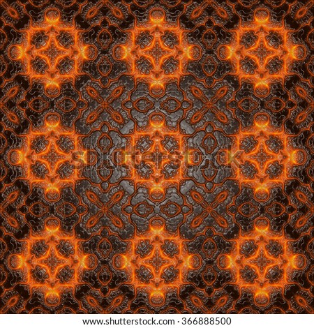 Seamless glowing signs, fiery pattern on the leather - stock photo