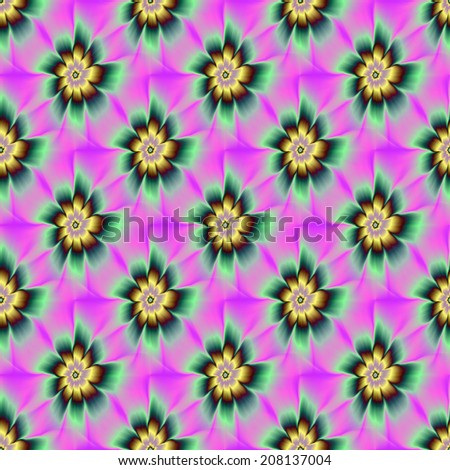 Seamless Gold and Green Daisy Flower / A digital abstract fractal image with a tiled seamless flower design in pink gold and green. - stock photo