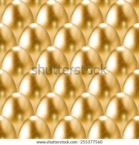 Seamless gold eggs pattern. - stock photo