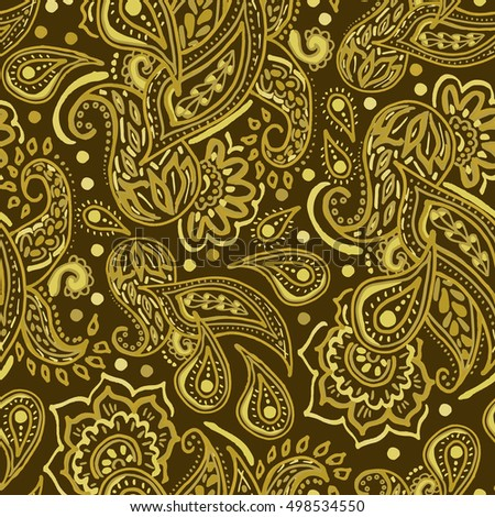 Seamless Gold Paisley Pattern On Brown Background Oriental Decoration Print Boho Style For