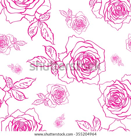 Seamless graphic pattern of delicate roses . Beautiful pattern of pen and ink drawings for design and decoration, wallpaper. Lightweight thin pen drawing.