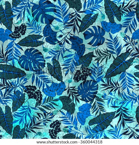 seamless graphical hand drawn beautiful bright tropics pattern. spring summer time, tropical nature, fantastic flower print, split leaf, philodendron, fern frond, bright rain forest flora background - stock photo