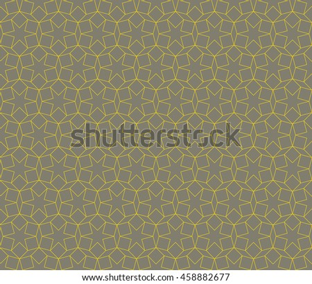Seamless gray and yellow islamic hexagonal star ethnic geometric pattern