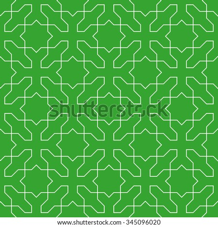 Seamless green and white islamic ornamental cross and stars pattern