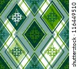 Seamless green and white rhombic pattern with floral ornament - stock photo