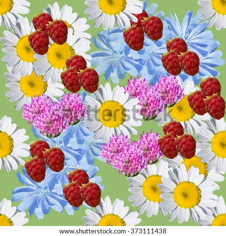 Seamless  green background with meadow flowers and raspberries - stock photo