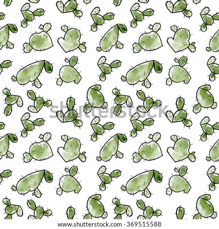 Seamless green cactus watercolor hand drawn pattern background