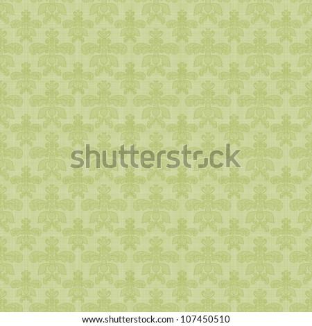 Seamless Green Damask - stock photo