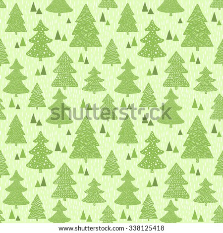 Seamless green pattern with hand drawn christmas trees. Raster version - stock photo