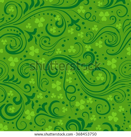 Seamless green St. Patrick's day background with floral swirls and clover leaves. - stock photo