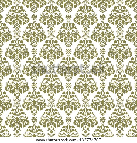 Seamless Green & White Damask