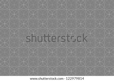 Seamless Grey Background with White Circular Pattern - stock photo
