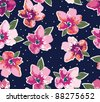 seamless grunge floral pattern - stock photo