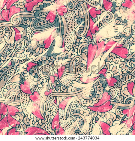 seamless grunge valentine pattern - stock photo