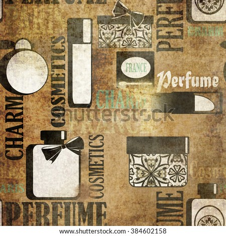 Seamless grunge vintage pattern with gifts of perfume and cosmetics retro background