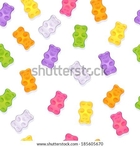 Seamless gummy bears pattern, white background. Raster version. - stock photo