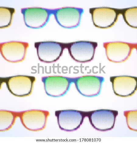 Seamless Halftone Glasses Background. Raster version. - stock photo