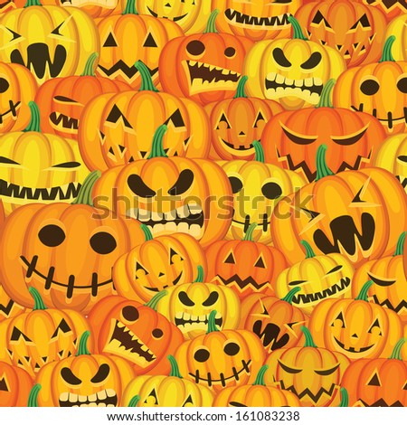 Seamless Halloween background with pumpkins