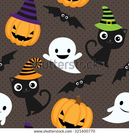 Seamless halloween pattern with cats, ghosts and pumpkins - stock photo