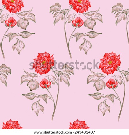 Seamless hand draw watercolor peony flower blossom pattern on pink backdrop. Classic seamless vintage flower background. Suitable for various designs, fabric, invitation and scrapbooking