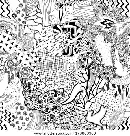Seamless hand drawn artistic patchwork pattern - stock photo