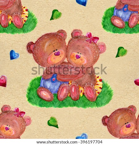 Seamless hand drawn cartoon pattern with cute hugging boy and girl bears in love on texture background. Watercolor repeated childish illustration. Wallpaper design for kids. Valentine's day concept - stock photo