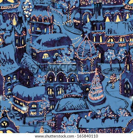 Seamless hand drawn Christmas town illustration