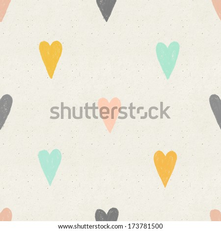 Seamless hand drawn hearts pattern on paper texture - stock photo