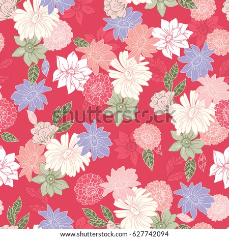 Seamless hand drawn pattern of blossoms and fresh branches. Floral contour vintage background for textile or book covers, manufacturing, wallpapers, print, gift wrap and scrapbook. Raster copy