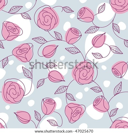 Seamless hand drawn pattern with pink roses (JPG); vector version also available - stock photo