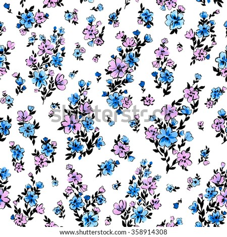 seamless hand drawn watercolor ditsy buckets flower pattern. spring summer time, holidays, garden flowers, gentle romantic floral background. - stock photo