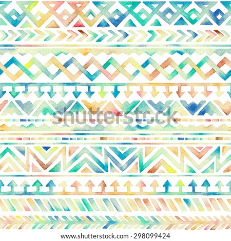 Seamless Hand Drawn Watercolor Ethnic Tribal Ornamental Pattern. Best for Fabric, Scrapbooking, Wrapping Paper, Greeting and invitation card Design Template. - stock photo