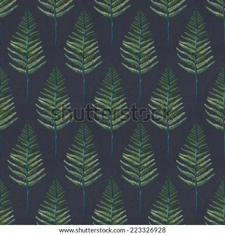 Seamless hand illustrated fern leaf pattern on paper texture. Watercolor botanical background - stock photo