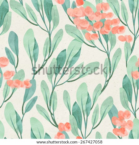 Seamless hand illustrated floral pattern on paper texture. Watercolor botanical background - stock photo