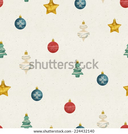 Seamless hand illustrated ornaments pattern on paper texture. Christmas background. - stock photo