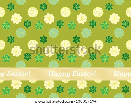 seamless Happy Easter pattern with flowers