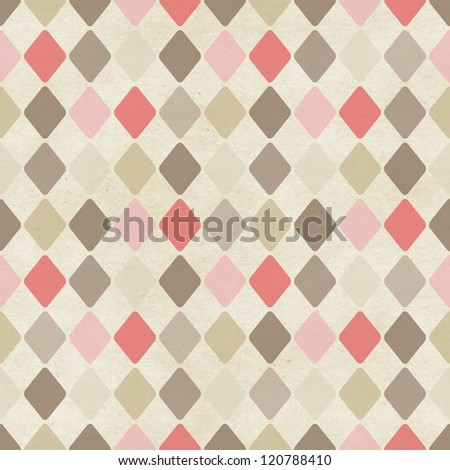 Seamless harlequin pattern on paper texture - stock photo