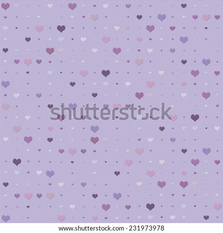 Seamless heart background in shades of purple - stock photo