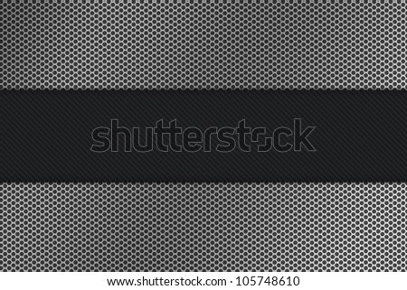 Seamless hexagon metal background with light reflection - stock photo