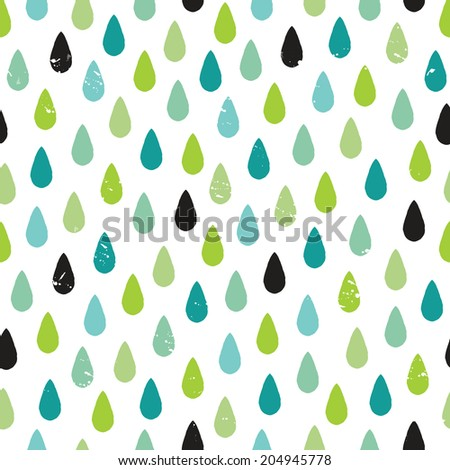 Seamless hipster background with rough, hand drawn raindrops pattern in blues and greens, raster version. - stock photo