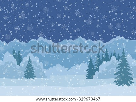 Seamless Horizontal Background, Christmas Holiday Landscape with Night Snowy Sky, Fir Trees, Snowdrifts and Far Mountains in the Distance