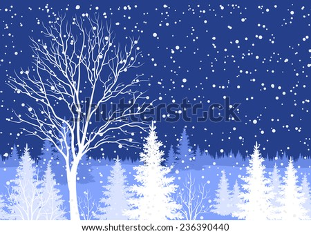 Seamless horizontal background, winter Christmas holiday woodland night landscape with trees and snowflakes white silhouettes. - stock photo